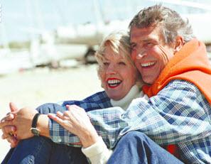 senior couple at the beach