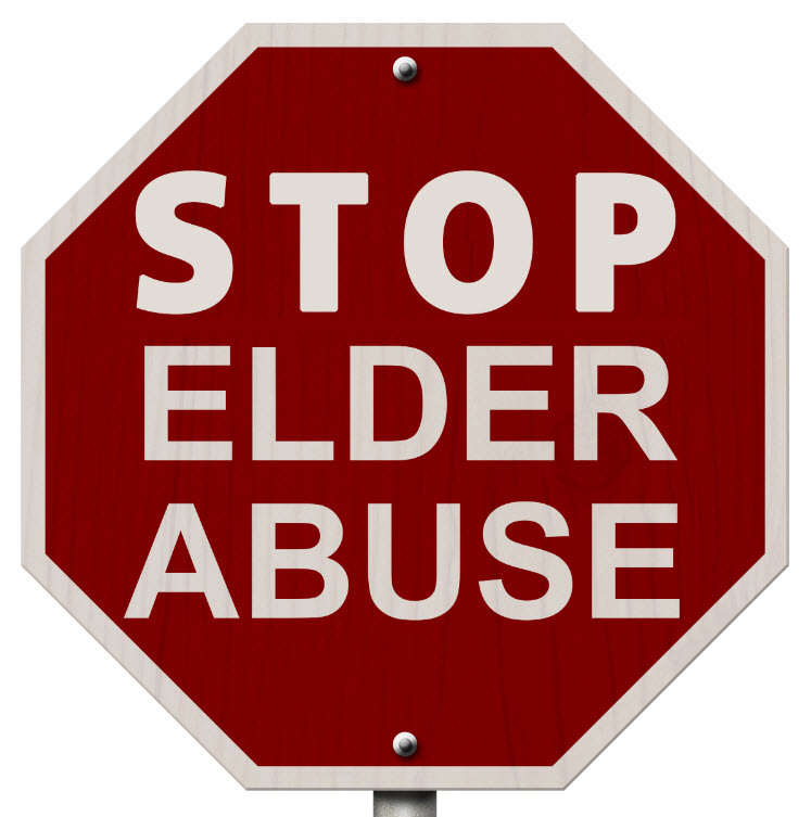 A stop sign depicting Stop Elder Abuse