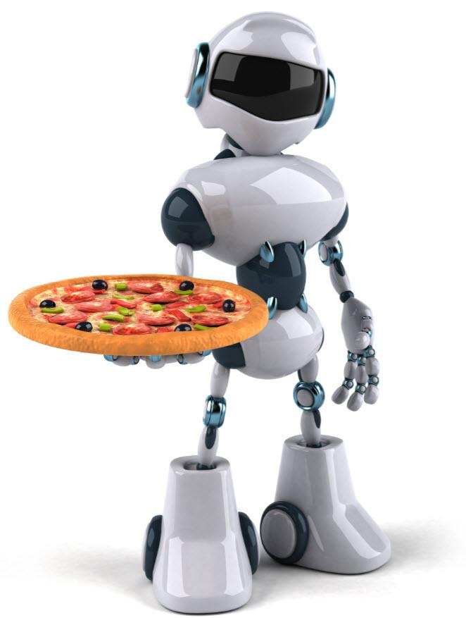 a robot holding a pizza