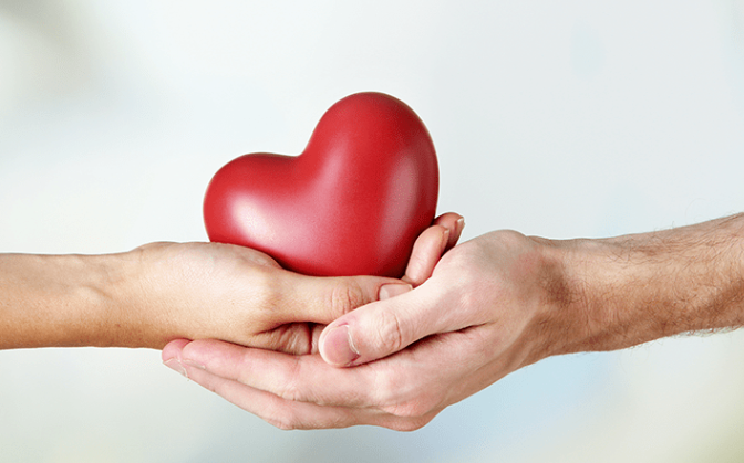 man and womans hands holding a toy heart